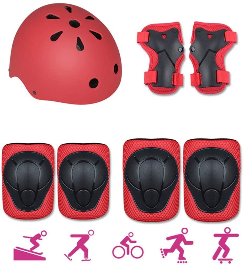 sea jump Skating Protective Gear Children's Knee Pads Anti-Fall Full Set Bicycle Skateboard Skating Balance-car Helmet Protective Gear Set-Red