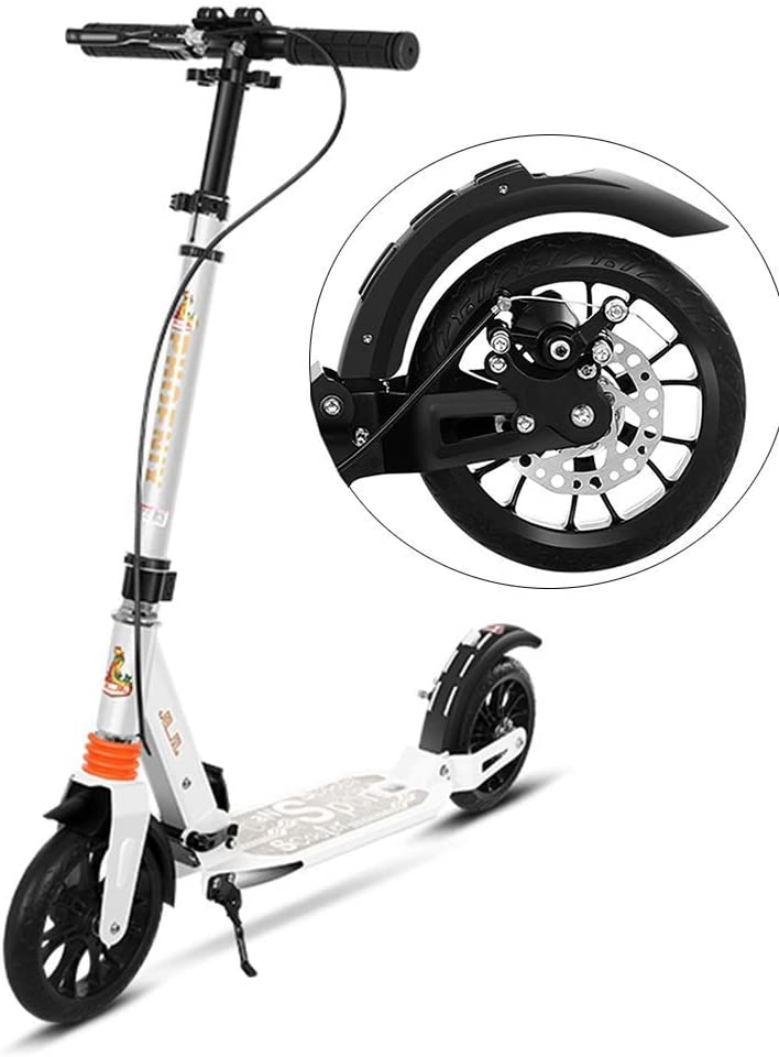 PLLP Adult Kick Scooter White Folding, Adjustable Commuter Scooter with 2 Large Wheel, Disc Brakes, Dual Suspension, 220 Lbs Weight Capacity