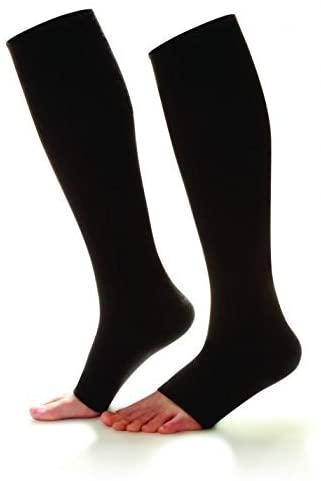 Doctor Comfort Compression Knee High 20-30mmHg Women's Open Toe Sheer Comfort (X-Large, Black)