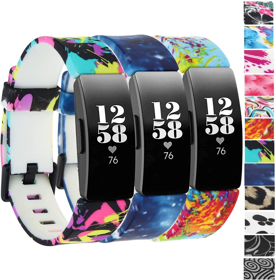 honecumi Floral Pattern Bands for Fitbit Inspire/Inspire HR/Ace 2 Fadeless Pattern Printed Watch Band Strap Replacement Wristband Accessory for Inspire HR and Ace 2 Women Men Small Large