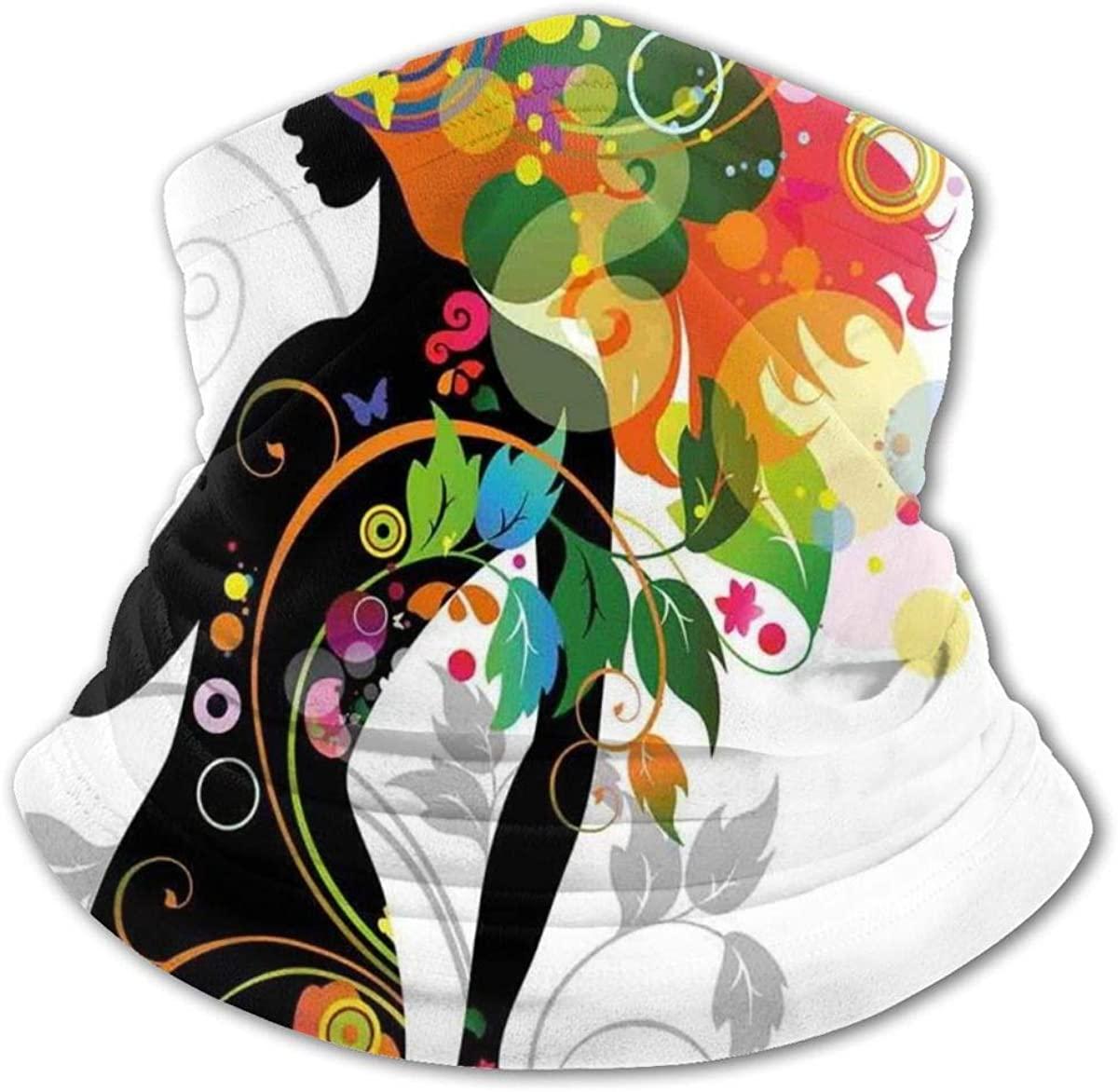Version with Spring Spiral Circles Leaf Kids Bandanas Reusable Washable Neck Gaiter Balaclava,Half Face Protective Masks