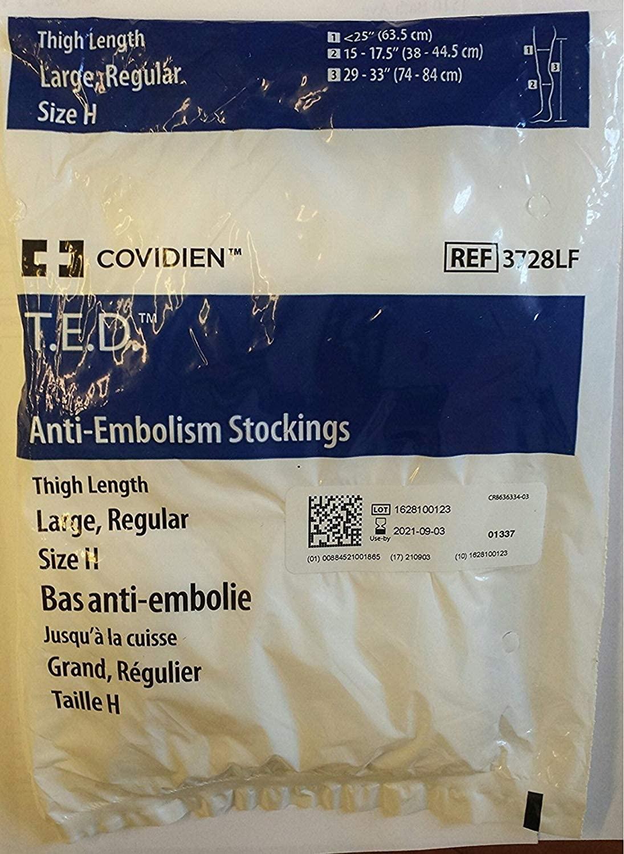 Stockings Thigh Open Toe Large Regular White - 3728 Covidien