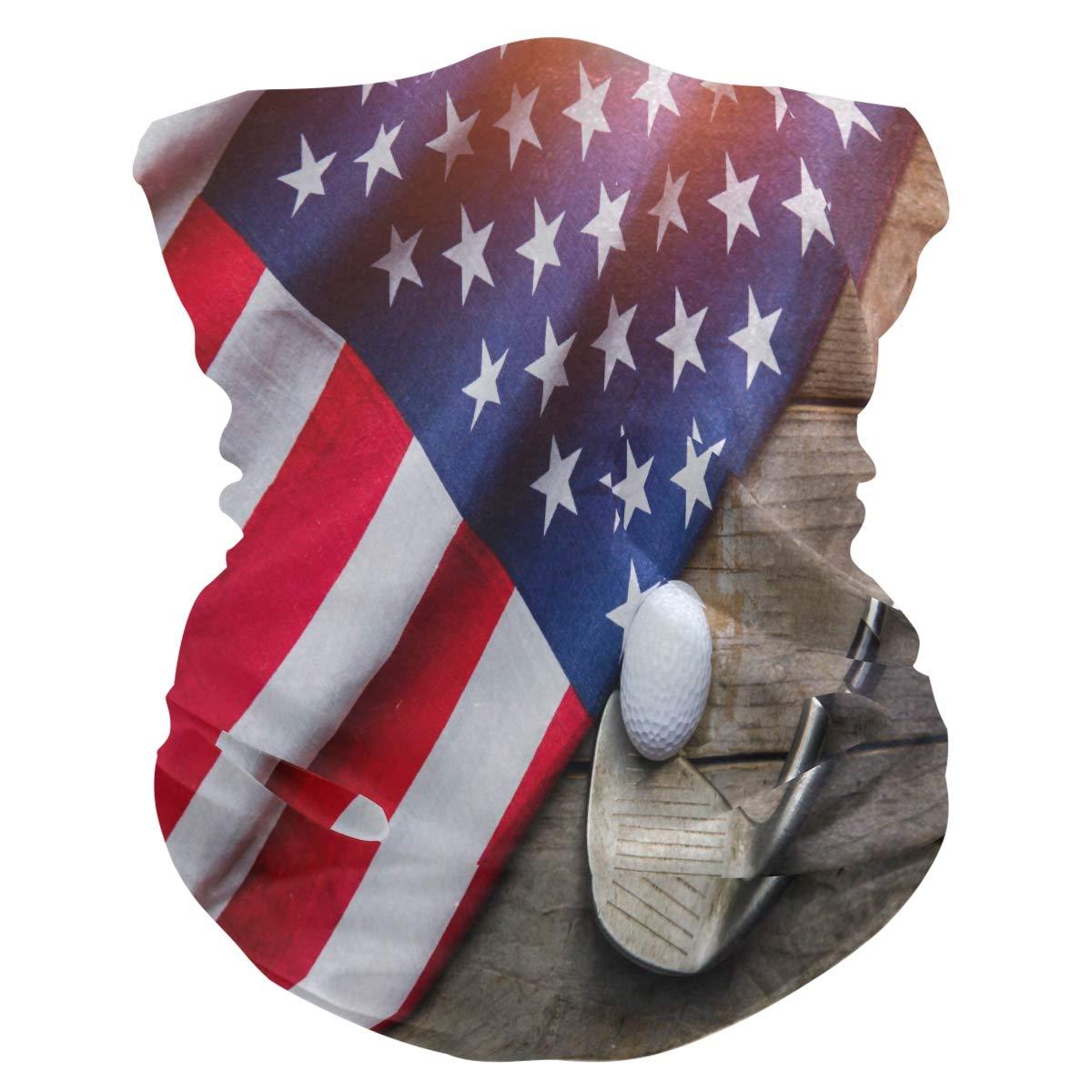 MAHU Headband Golf Ball American Flag Face UV Sun Protection Mask Neck Gaiter Magic Scarf Bandana Headwear Balaclava for Women Men