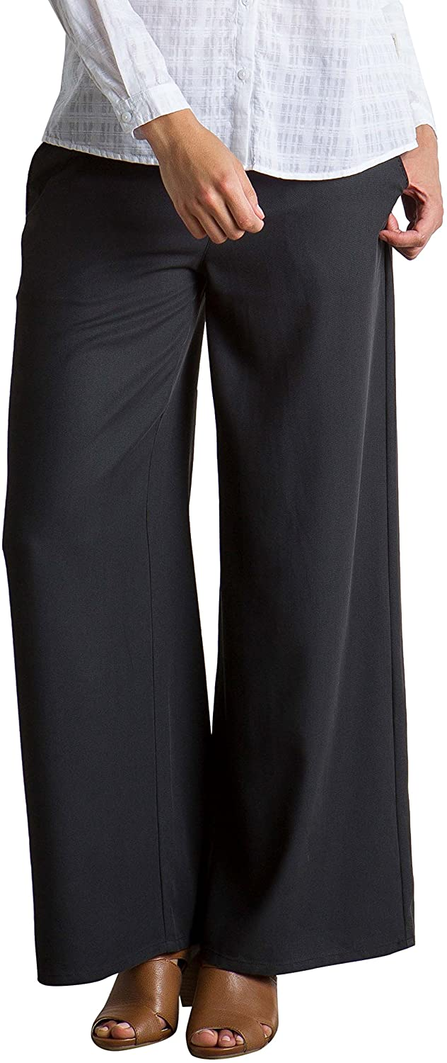 ExOfficio Women's Basilica Lightweight Wide-Leg Pants, Black, Size 14