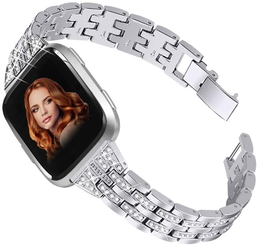 Joyozy Chic Bling Bands Compatible with Fitbit Versa/Versa 2/Versa Lite/Versa SE Smartwatch,Rhinestone Dressy Bracelet Replacement for Wristbands Accessories Jewelry Strap Women Girl Silver