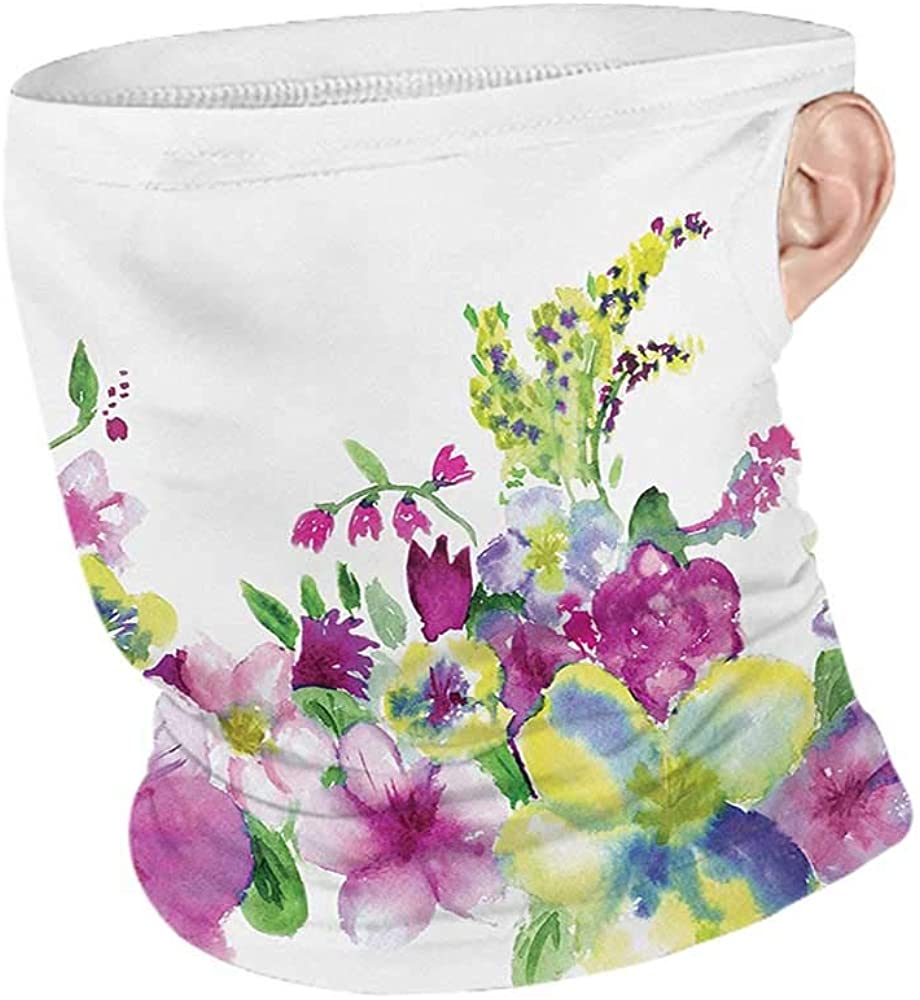 Face Cover Summer Watercolor Flower Hybrid Garden Floret Composition with Heathers and Stocks Abstract Art,Headband Neck Gaiter Pink Green 10 x 12 Inch