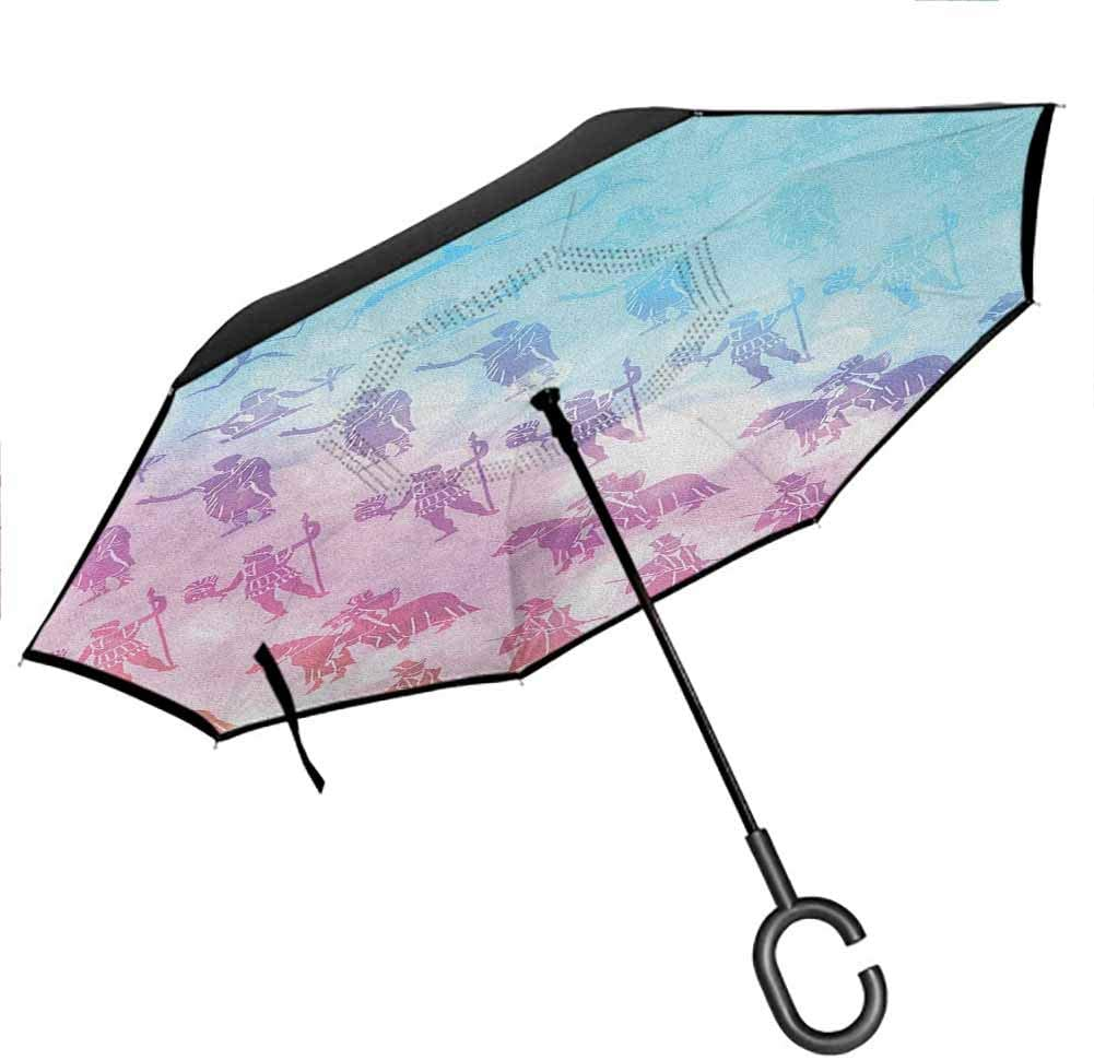 flyrio Anchor Umbrellas for Women with UV Protection Zentangle Style Ocean and Clouds Hand Drawn Artistic Arrangement Marine Theme Upside Down UV Protection Windproof Black and White