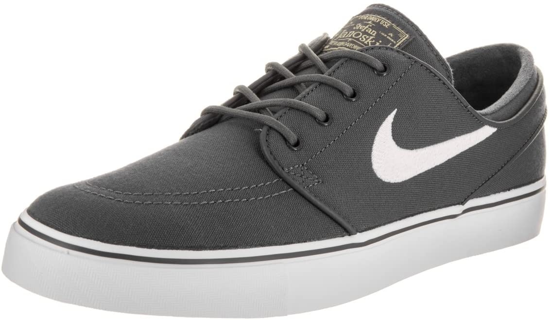 NIKE Men's Zoom Stefan Janoski CNVS Drk Gry/White/GM Lght BRWN/Mtl Skate Shoe 14 Men US