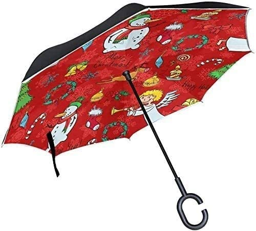 Inverted Umbrella Merry Christmas Snowman Angle Bell Double Layer Reverse Umbrella with C-Shaped Handle