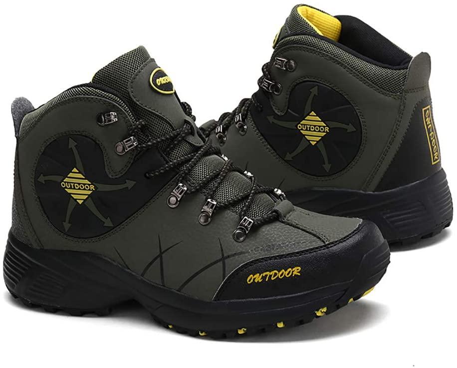 Hiking Shoes Men Trekking Shoes Warm Comfortable Waterproof Light Anti-Slip for Outdoor Trekking Climping,Army Green,46
