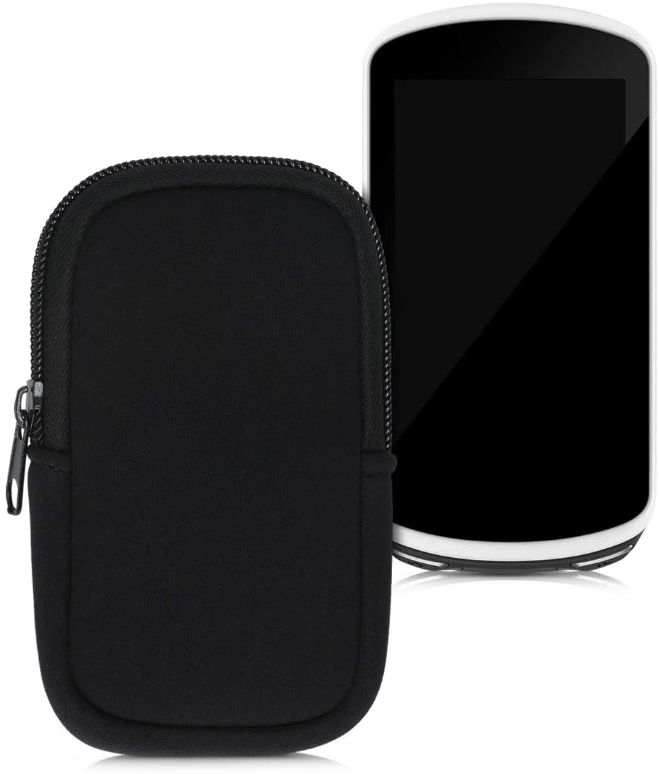 kwmobile Case Compatible with Garmin Edge 1030/1030 Plus / 1000 - Protective Zippered Pouch Holder for Bike GPS - Black