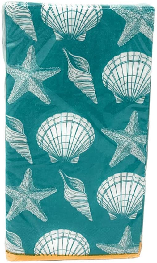 Coastal Living Seascapes 2-ply Guest Towels Buffet Hostess Paper Napkins, 20-Count, Summertime (Teal Seashell)
