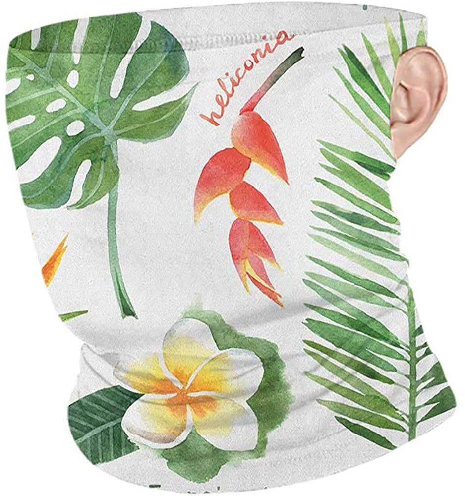 Headwrap Summer Plant Bird of Paradise Palm Leaf and Assorted Exotic Flowers Watercolor,Unisex Seamless Rave Bandana Coral Earth Yellow Fern Green 10 x 12 Inch