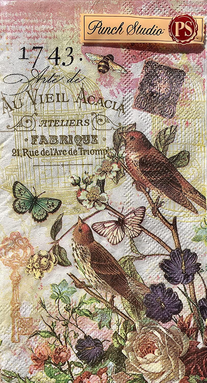 95903 Punch Studio Boutique 32 Ct Guest Towels / Dinner Napkins, Fleur de Triomphe Bird Cage Floral