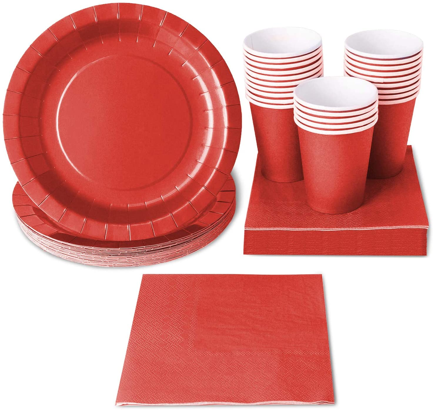 Red Party Supplies, Paper Plates, Cups, and Napkins (Serves 24, 72 Pieces)