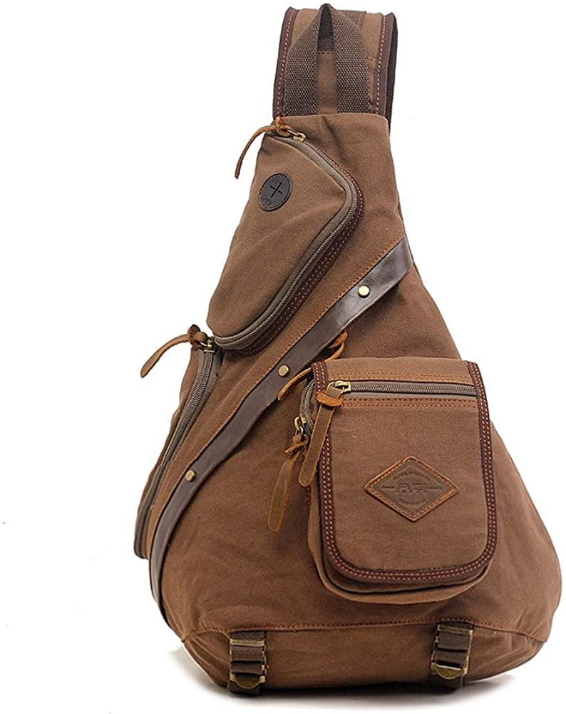 Canvas Sling Bag, Large Canvas Chest Bag Sling Chest shoulder Bag Crossbody Sling Backpack for Men Women