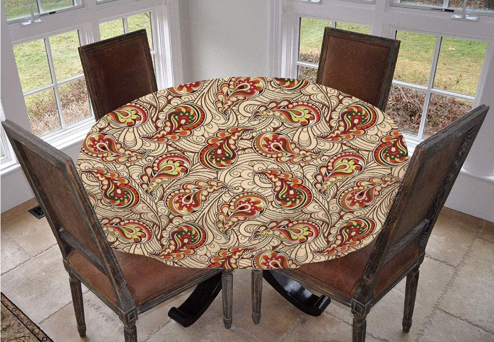Angel Bags Fall Round Tablecloth,Leaves in Ethnic Paisley Design Folkloric Art Original Tribal Culture Inspired Motif Polyester Table Cover,70 Inch,for Holiday Home Christmas Party Picnic Red Beige