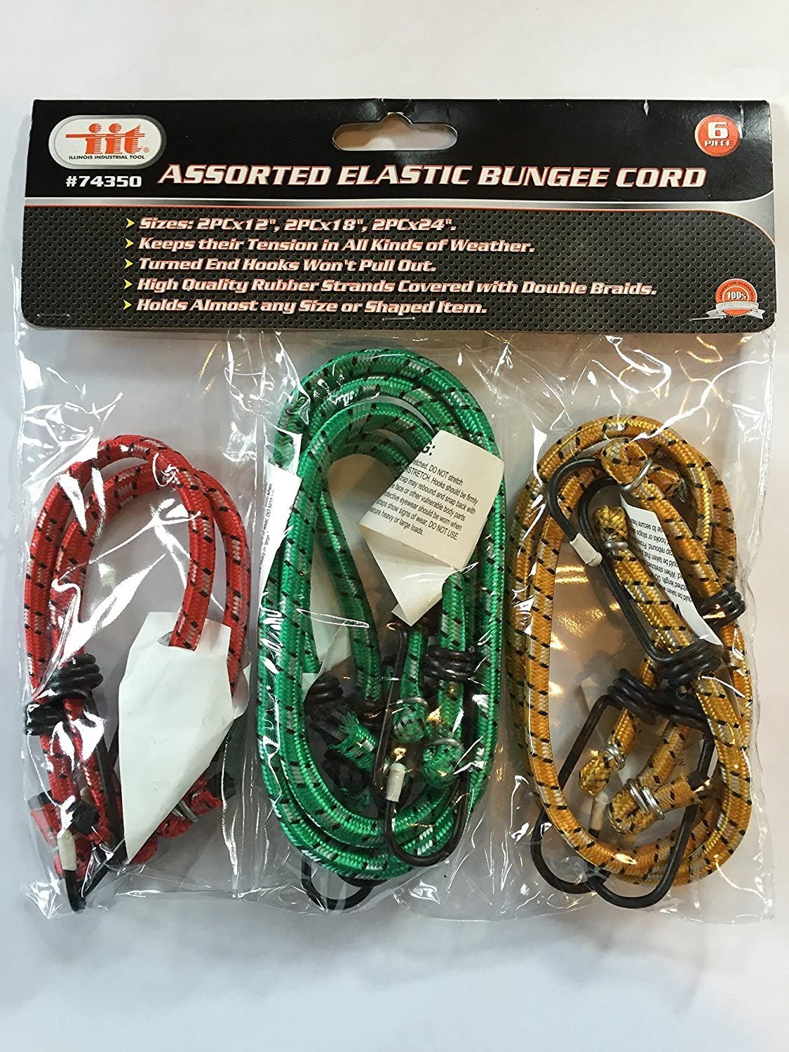 Assorted Bungee Cords for Trailers, Trucks, Motorcycles, or Cars - 6 pcs