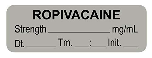 Anesthesia Label, Ropivacaine mg/mL Date Time Initial, 1-1/2