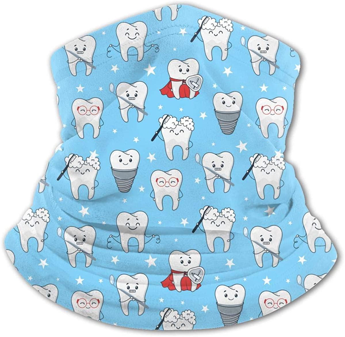 Funny Teeth Cartoon Pattern Isolated Kids Bandanas Reusable Washable Neck Gaiter Balaclava,Half Face Protective Masks