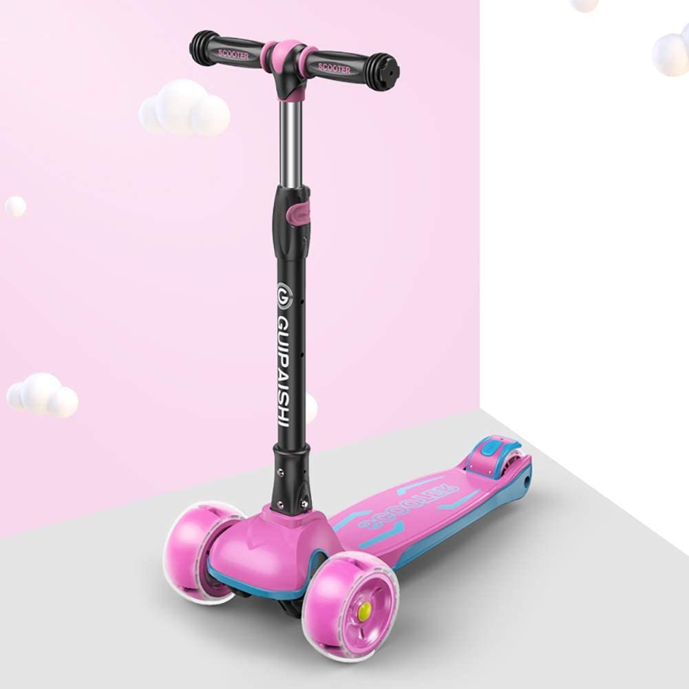 PLLP Child Foldable Scooter-Scooter Kick Folding Kids Kick, Adjustable Handle Grip, Double Flashing 4 Wheel for 3-6 Year Old Toddlers,Pink