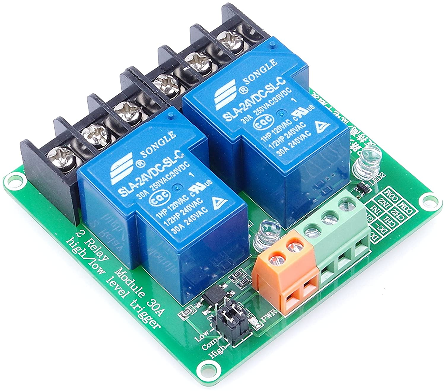 KNACRO 2-Channel Relay Module High Low Level Triggering Optocoupler Isolation Load 30A DC 30V AC 250V for PLC Automation Control, Industrial System Control, Arduino (DC 24V)