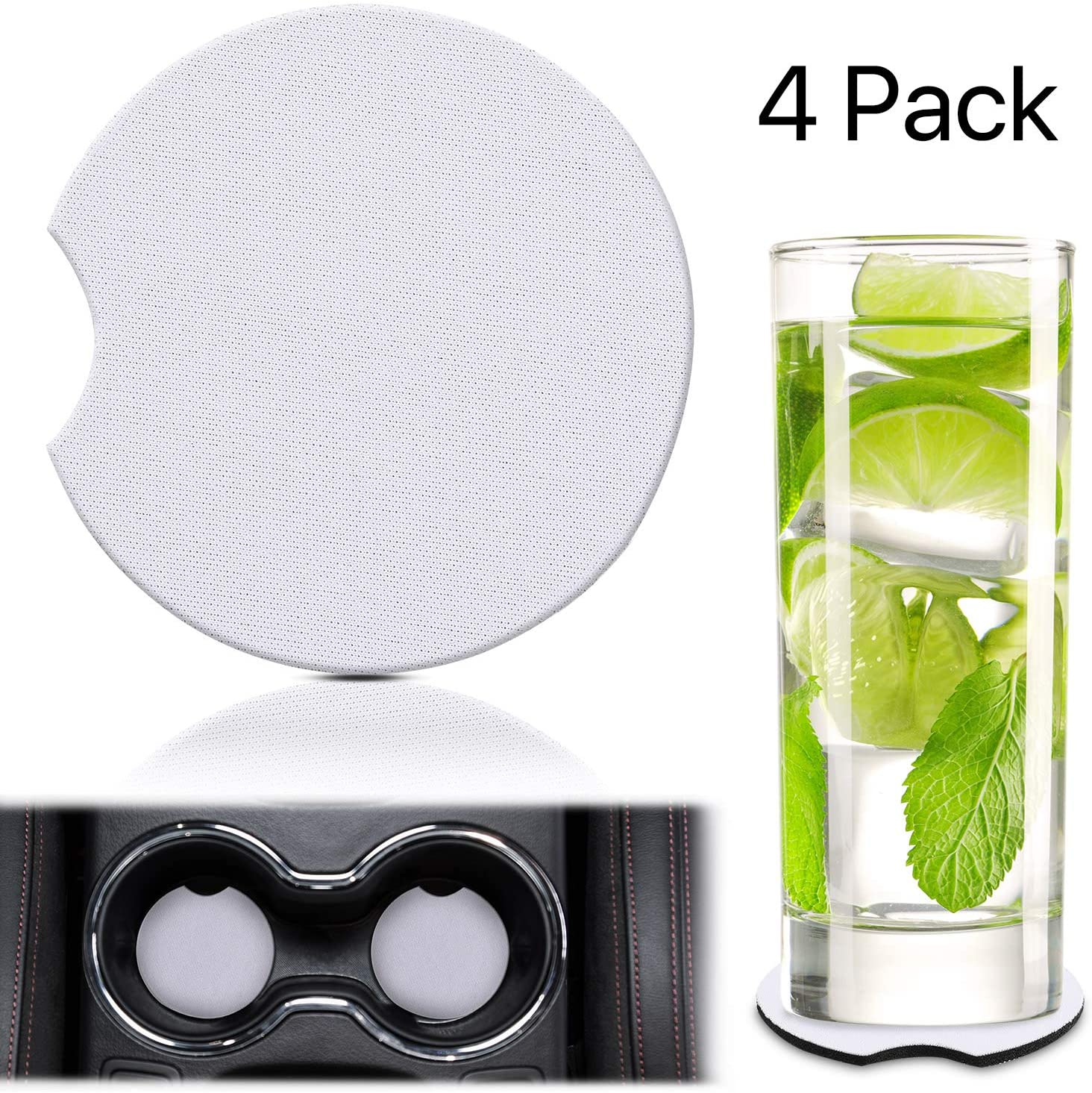4 Pieces Sublimation Blanks Coaster DIY Car Cup Holder Coaster with Absorbent Neoprene and Finger Notch, Blank Drink Cup Mat Pad for Your Own Crafts to Keep from Sweat Stain Spill(White Coaster 2.56