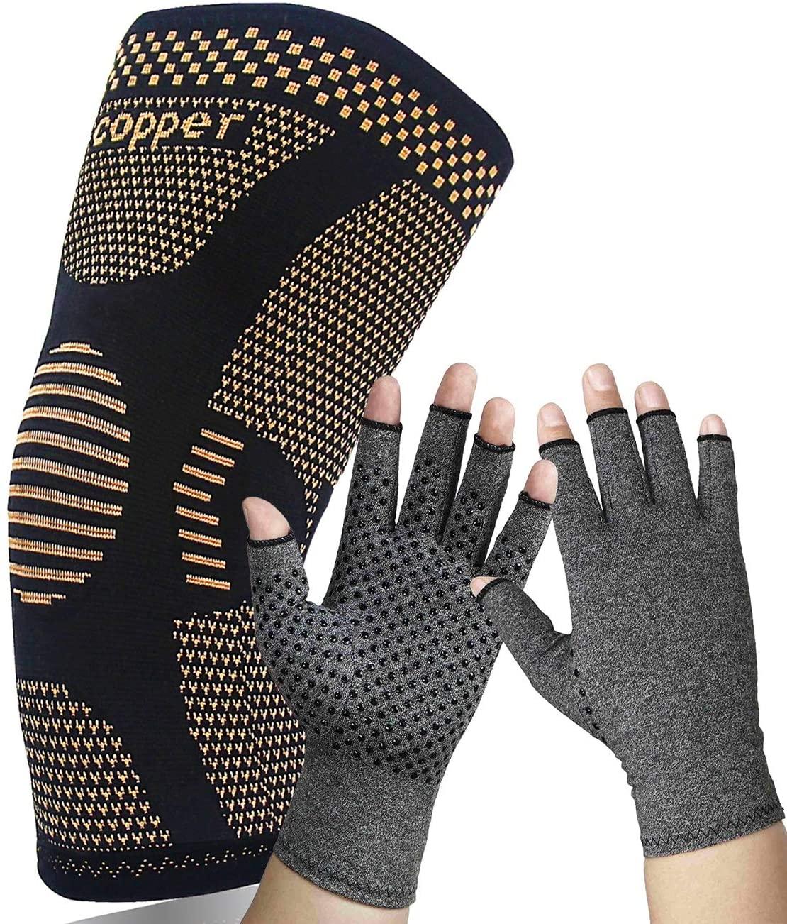 Compression Gloves(Medium)+(X-Large) Copper Knee Brace Bundle