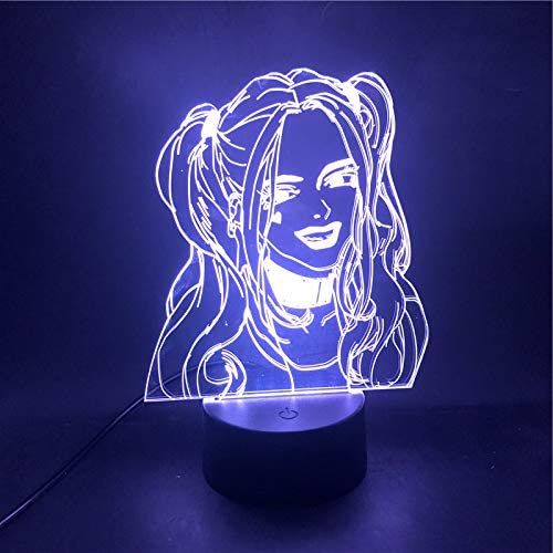 XUIHSA Night Lights for Kids - 3D Night Lamps 7 Colors Changeable nightlight with Timer Best Birthday Gifts for Boys Girls Baby Cracked Cool Base Crack Effect Beautiful Girl