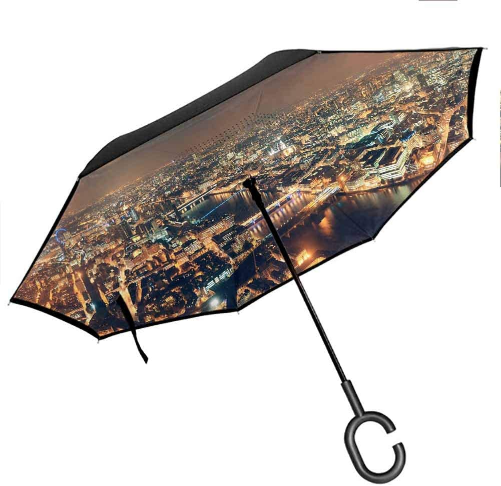 City Lights Night View Reverse Inverted Inside Out Umbrella with C-Shaped Handle for UV Protection & Rain, 42.5