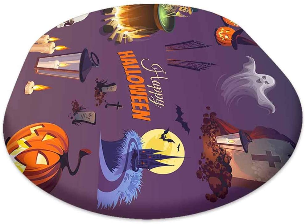 oobon Oval Picnic Folding Table Cover, Halloween Elements and Objects for Design Projects, for Spring/Summer/Party/Picnic, 60x120 inch