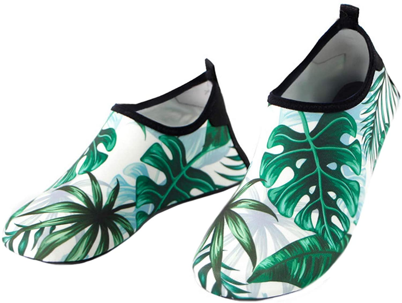 Bestgift Men's Women's Quick-Dry Non-Slip Swimming Beach Shoes Green Palm Leaves 38-39