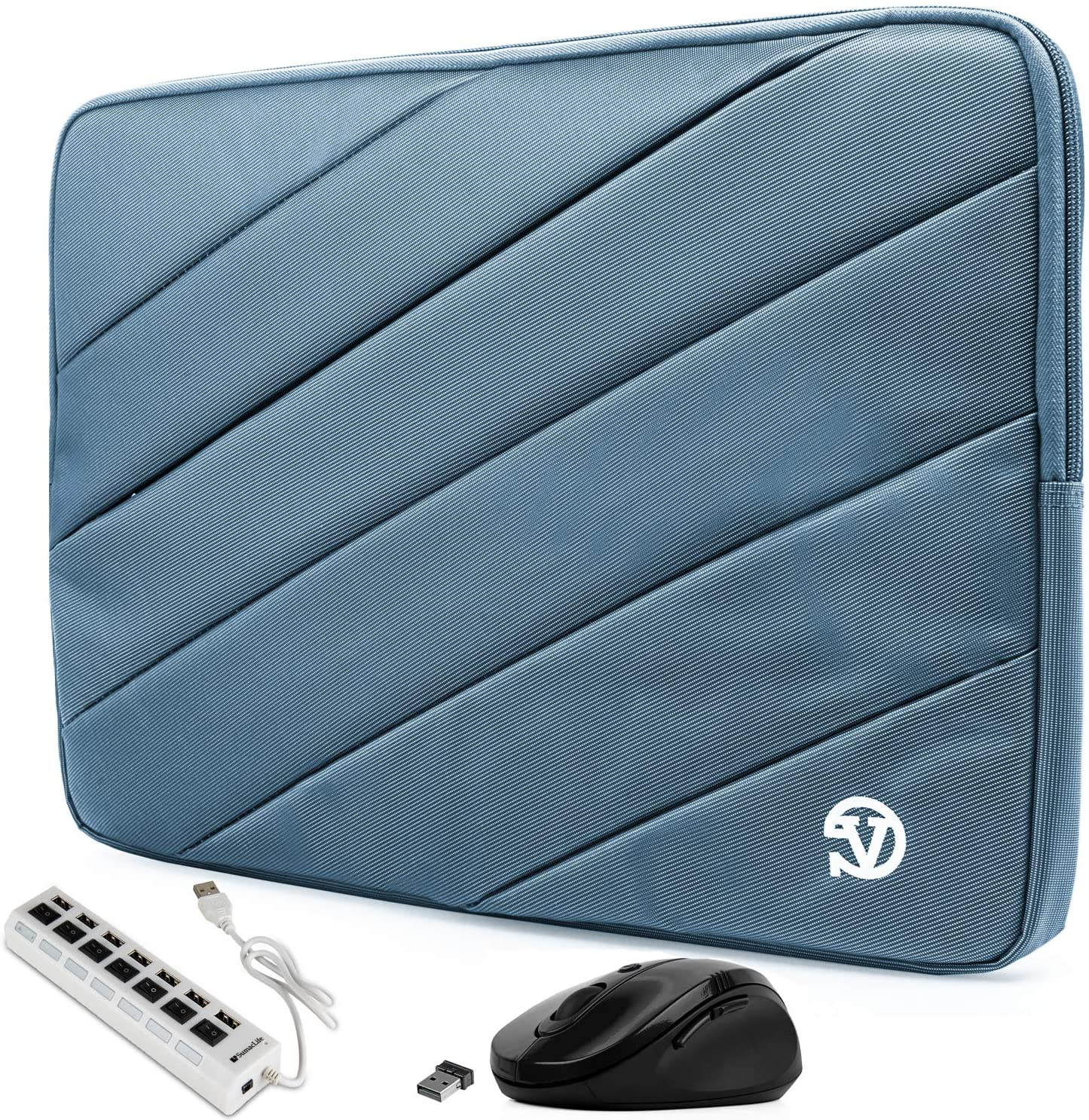 Shock Absorbing Blue Laptop Sleeve for Acer Aspire, ChromeBook, Nitro, Predator, Spin, Swift, Triton, V Nitro 14 to 15.6 inch (Includes USB Hub and Mouse)