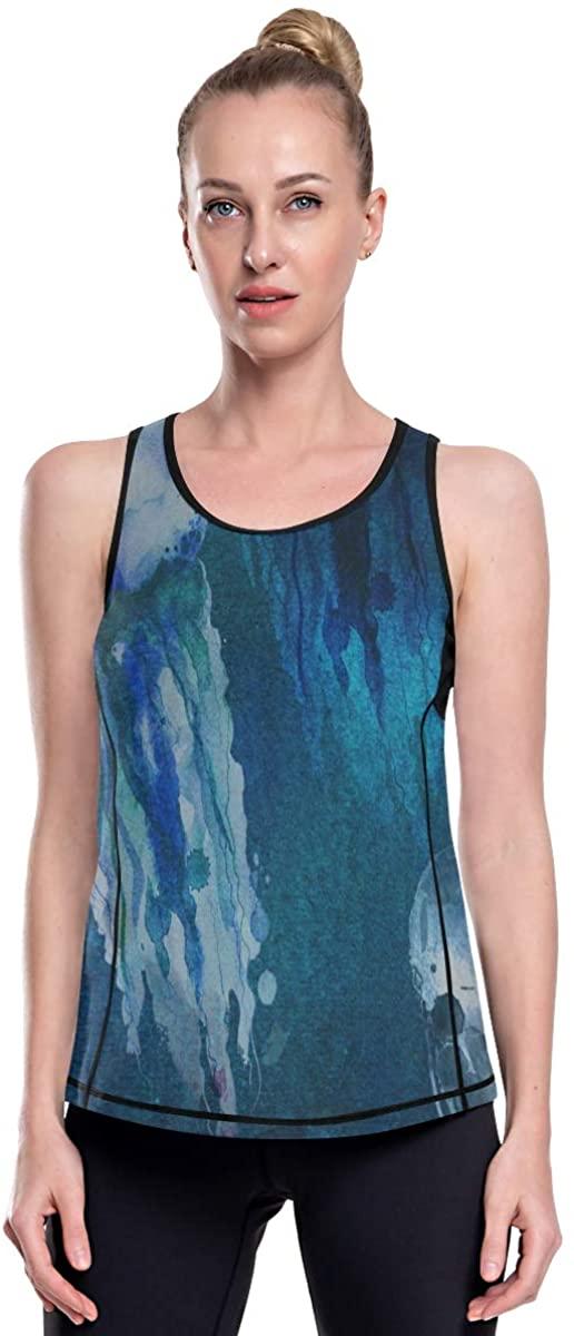 SLHFPX Women's Razorback Athletic Graphic Tank Tops Loose Fit Summer Ladies Long Ocean Seawater Jellyfish