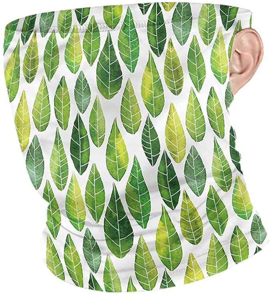 Bandana Green,Forest Leaves in Watercolors Headband Neck Gaiter