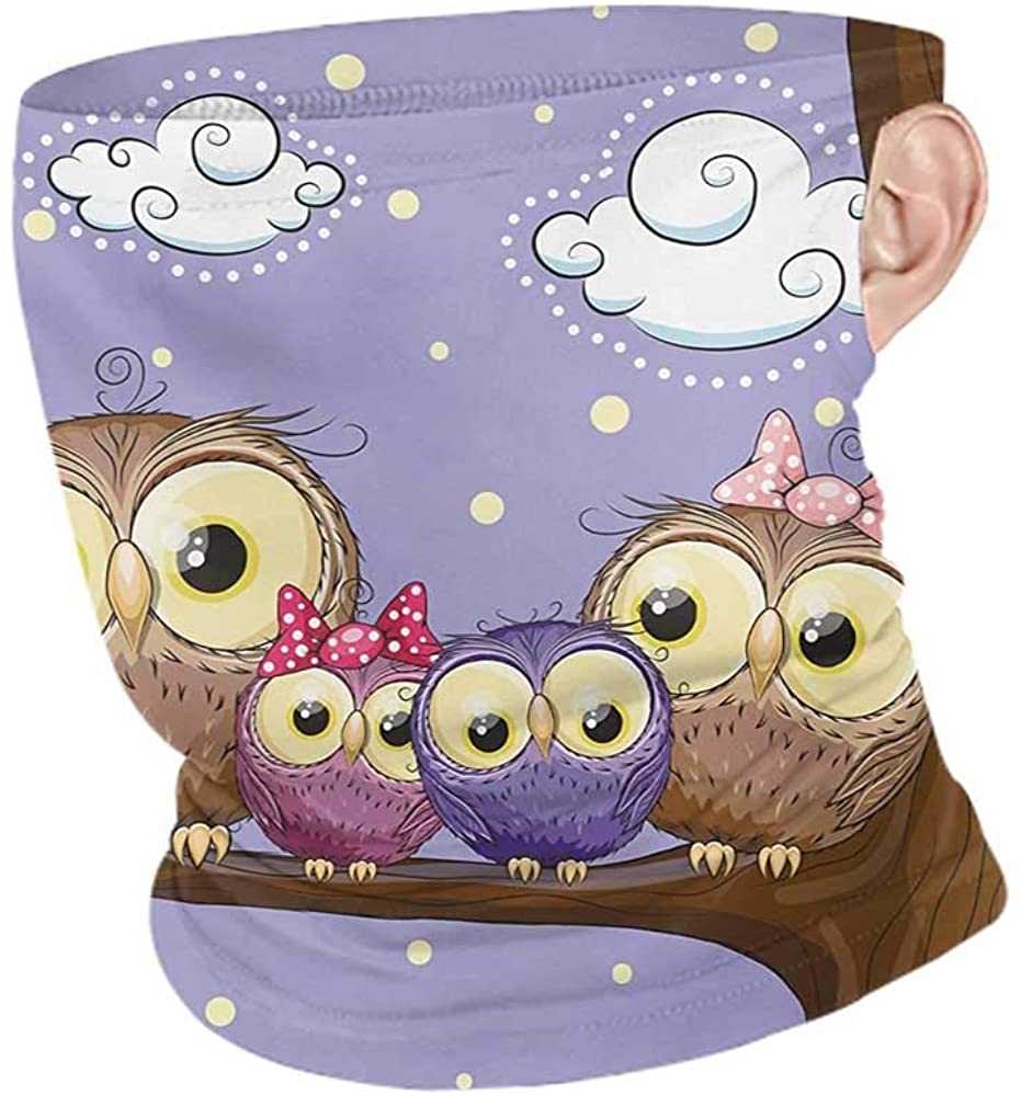 Bandana Summer Kids Cartoon Style Owl Bird Family Mother Father Daughter Son Sitting on a Branch,Sun Dust Bandanas for Fishing Motorcycling Running Brown and Lavander 10 x 12 Inch