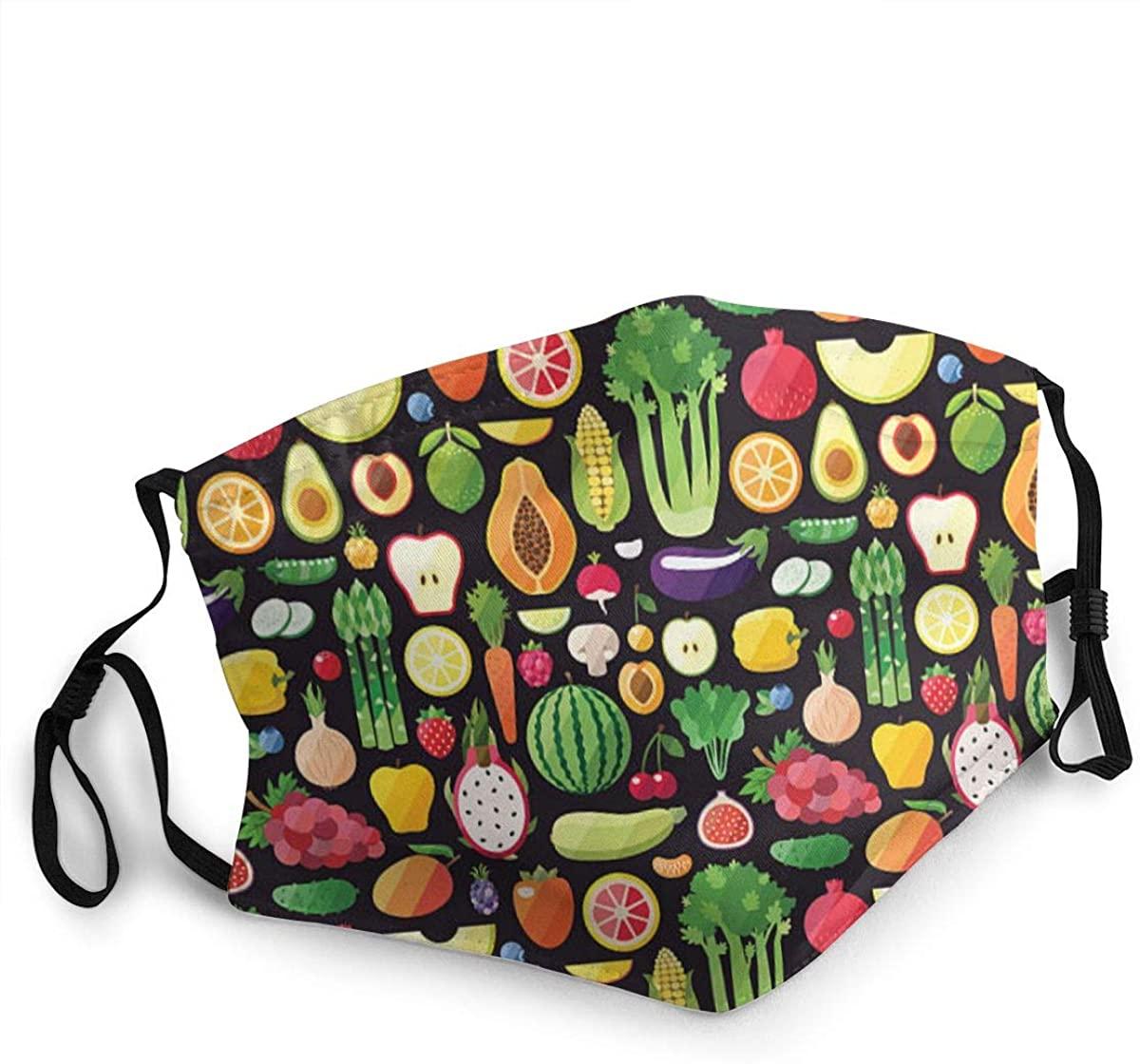 Fashion Protective Face Masks, Big Fruits and Vegetables Unisex Dust Mouth Masks, Washable, Reusable Masks
