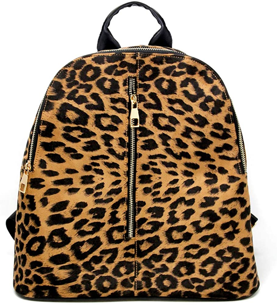 by you Women Fashion Animal Leopard Print Large Backpack Bag Adjustable Straps Front Pocket