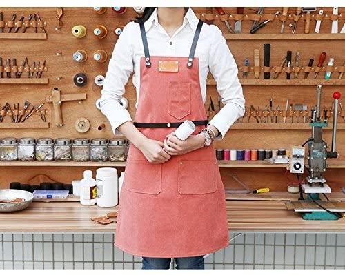 MAGELLEN 100% Cotton Denim Apron with Genuine Leather Strap (Pink)