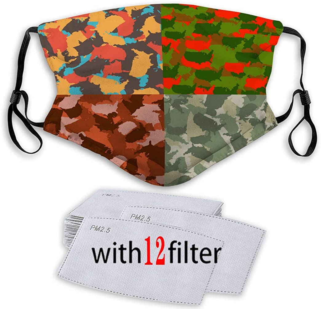 Mouth Shield Reusable Unisex Adjustable Covers with Replaceable Filters Set of USA Shape camo Seamless Pattern Colorful Sport Covers