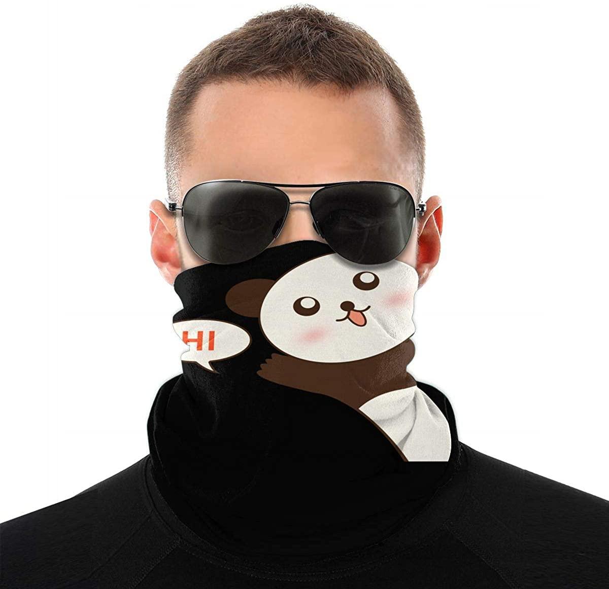 Panda Saying Hi Seamless Bandana Face Mask for Men Women Scarf Headband Sweatband