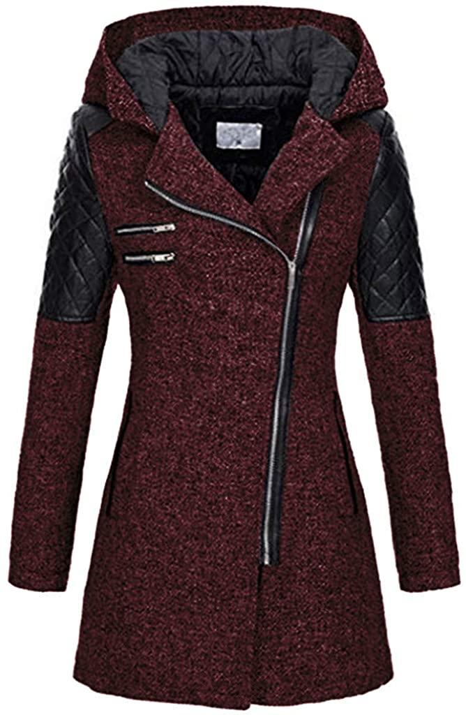 Adeliber Women's Winter Warm Slim Hooded Pocket Zip Coat Jacket Thick Jacket