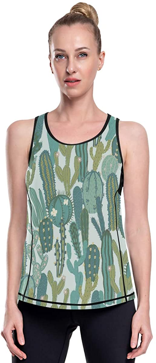 Women's Racerback Workout Graphic Tank Tops Loose Fit Summer Ladies Long Cartoon Cute Funny Cactus