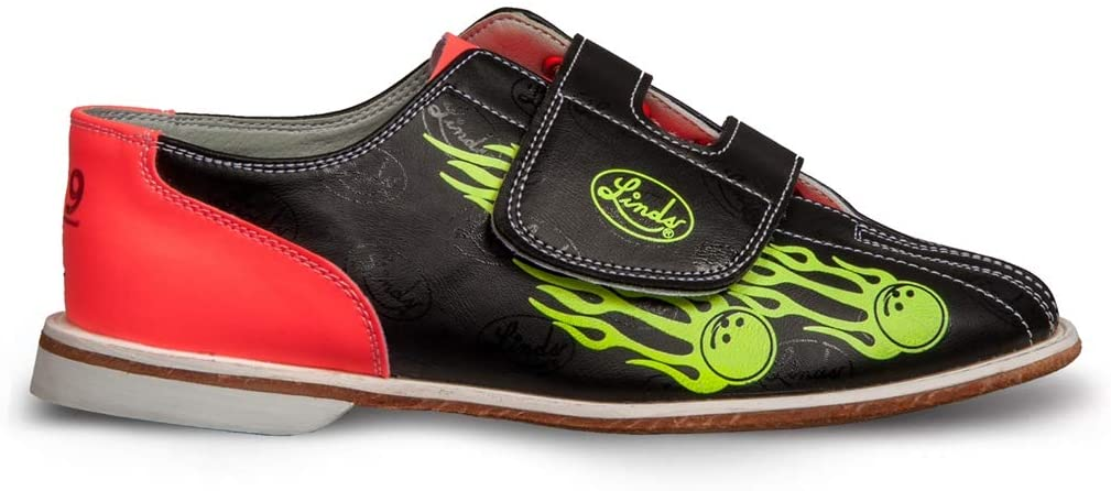 Linds Mens Glow Balls of Fire Bowling Shoes- Velcro 8