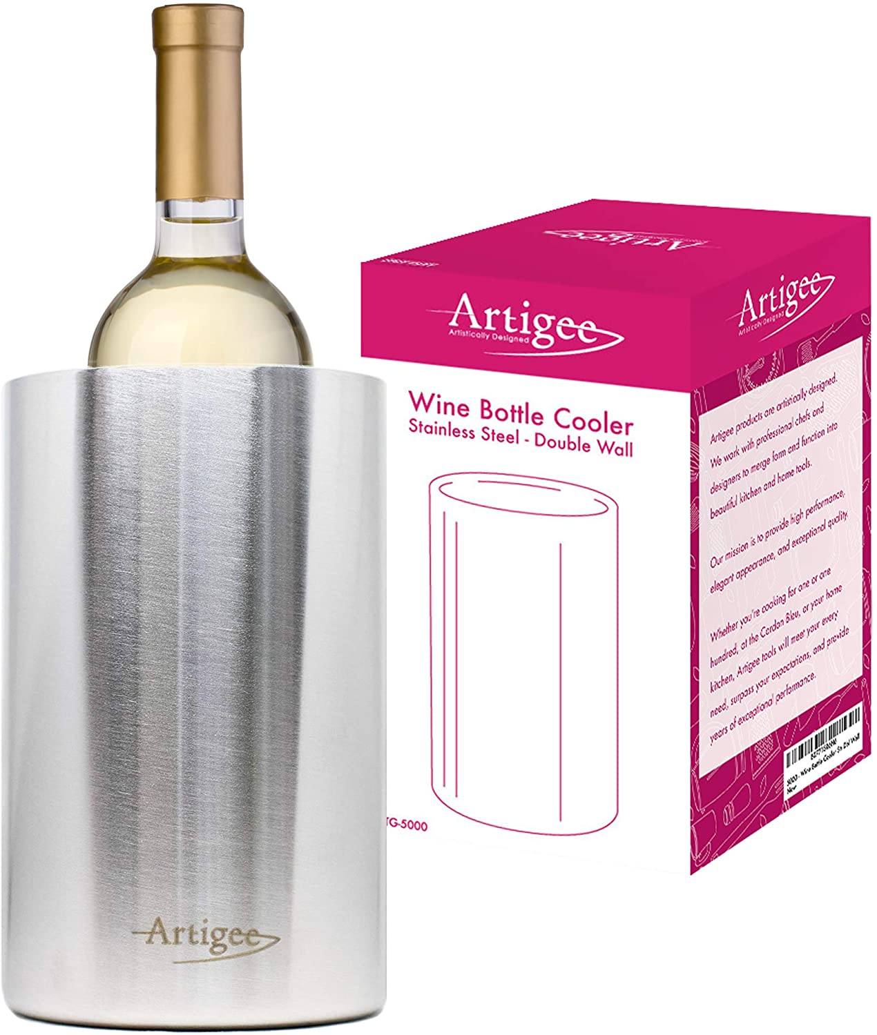 Artigee Wine Cooler Bucket - Double-Wall Stainless Steel Insulated Wine Chiller/Champagne BucketStainless Steel | Fits all 750ml Bottles, Keeps Wine Cold