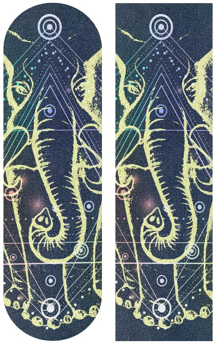Skateboard Grip Tape Sheet 33 X 9 Inch - African Elephant Hexagon Sandpaper for Rollerboard Longboard Griptape Bubble Free Scooter Grip Tape