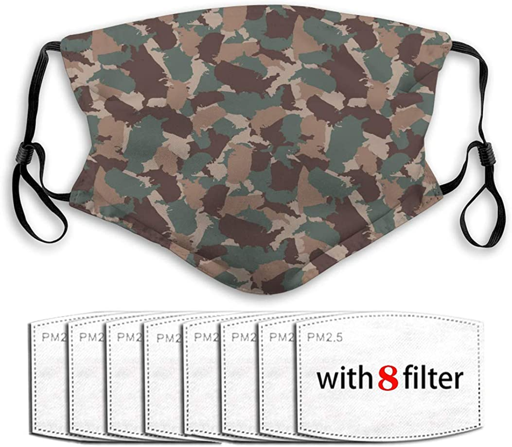 Dust Mouth Shield with Replaceable Filters Original USA Shape camo Seamless Pattern Colorful Reusable Cover