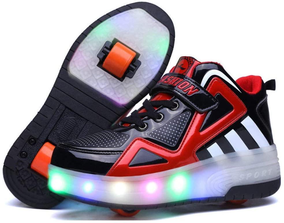 XIAZHOU Skating Ladies' Shoes, Children's Shoes Skating, Inline Skates, Roller Shoes Deformation Adult Children, Blackredsinglewheel-33 (Color : Blackred1, Size : 30)