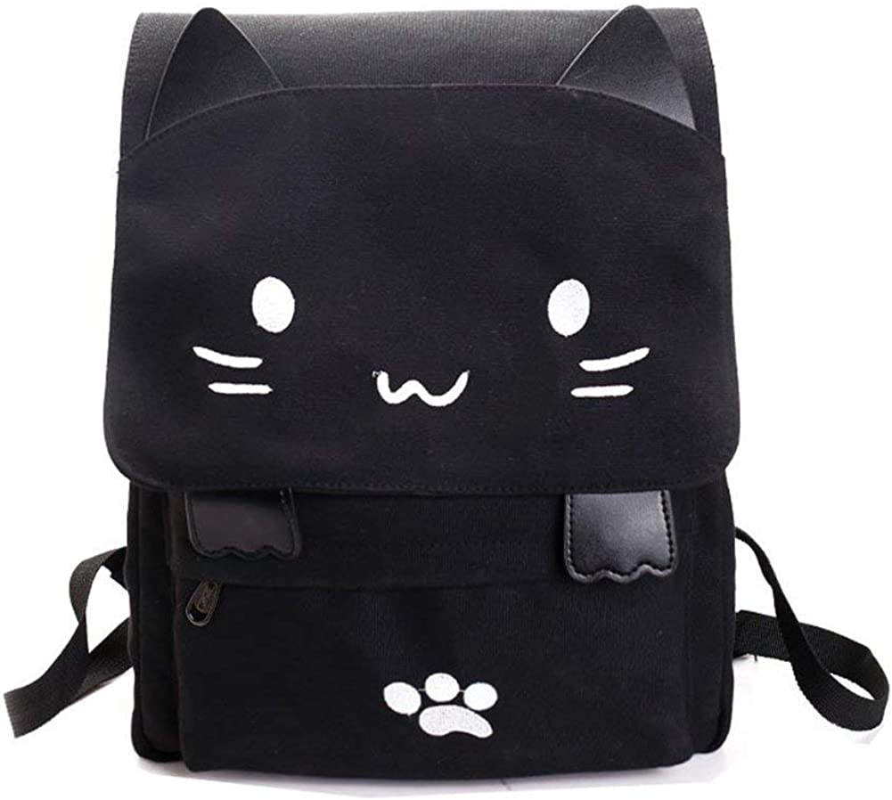 Japanese Style Cute Cat Print Backpack Daily Traval Daypack For Teen Girls Women