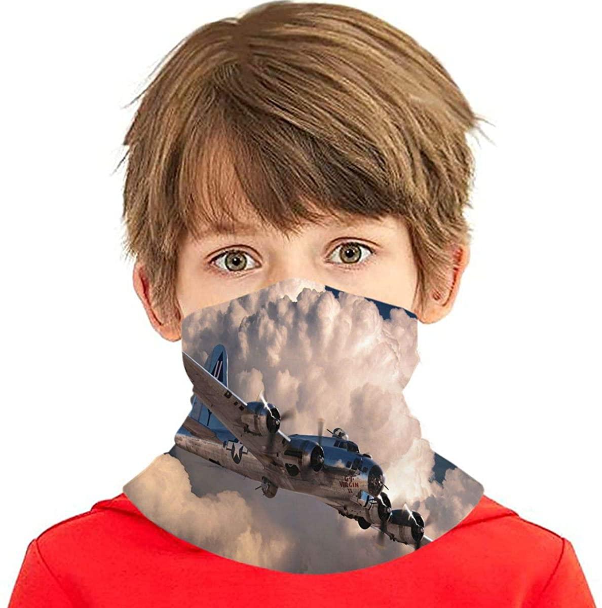 Art Aircraft Military Clouds Storm Lightning Children's Face Scarf Windproof Protection Balaclava, Multifunctional Headwear Neck Gaiter for Kids Teens, Dust Sun Uv Black